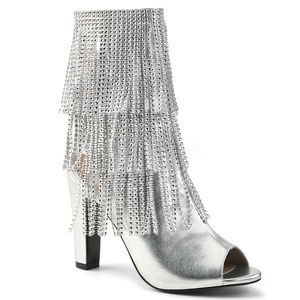 """Shoes - 4"""" High Heel Rhinestone SIlver Fringe Ankle Boots"""